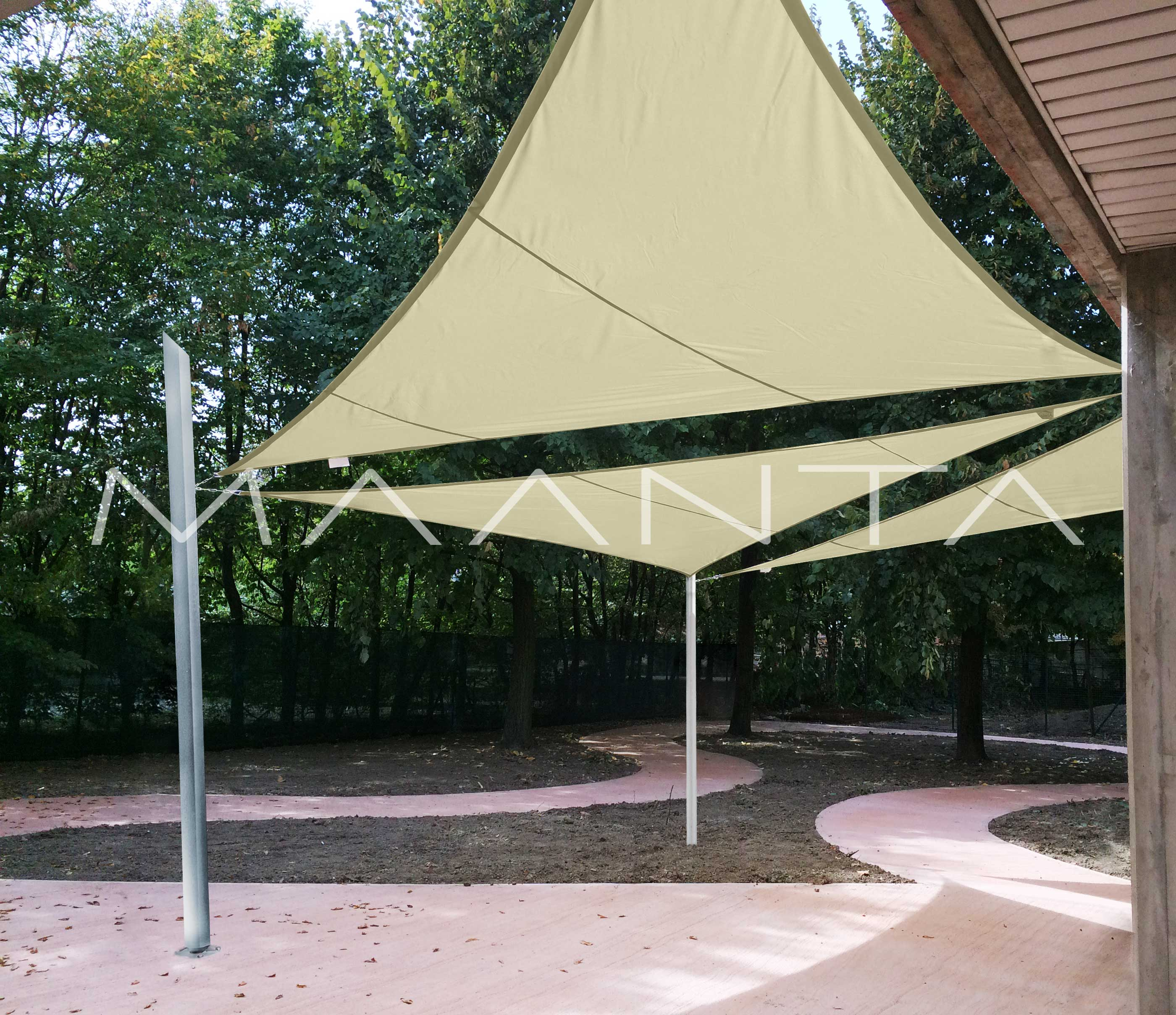 Tende A Vela Impermeabili.Easyshade Vela Impermeabile 160gr Triangolare A 3 Lembi Maanta