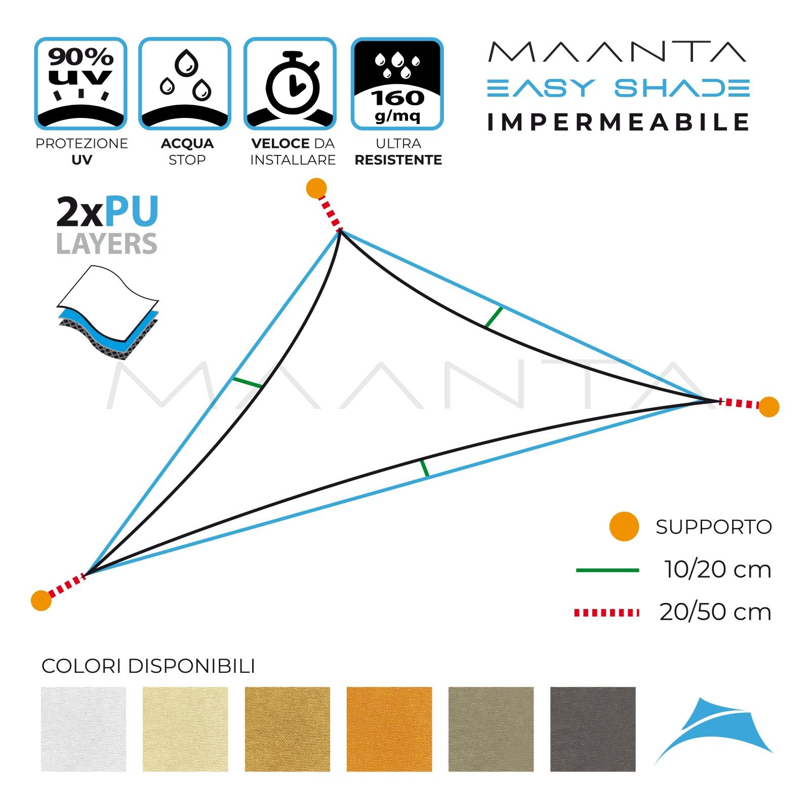 Vela Triangolare Da Giardino easyshade impermeabile triangolare (3 lembi)
